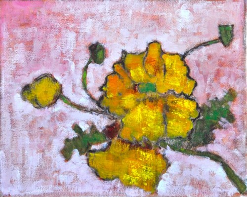 Yellow California Wildflower Painting