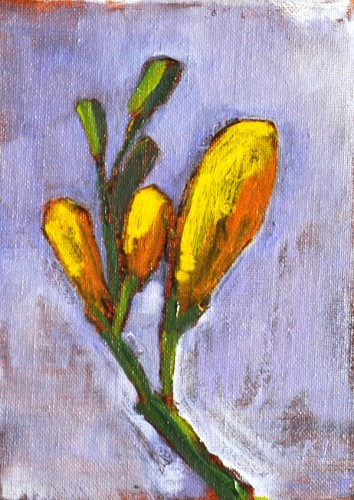 Flower Painting Yellow Freesia Buds Still Life
